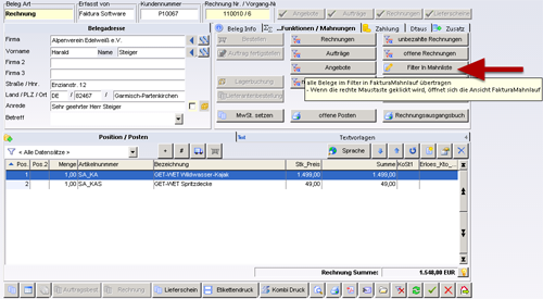 Faktura Software - Ansicht FakturaBelege