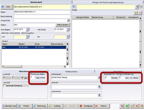 Faktura Software - Ansicht FakturaAbonnement
