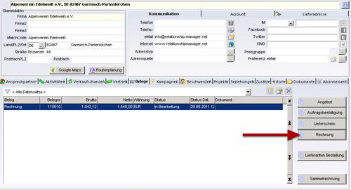 Faktura Software - Ansicht Firmen